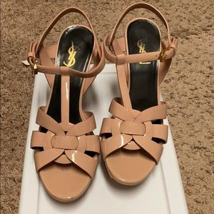 YSL Tribute Platform heels pink nude 38 mint